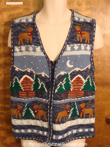 Ugly Christmas Sweater Vest with Cabin and Reindeer