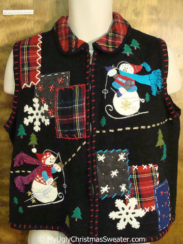 Skiing Snowmen Plaid Themed 80s Ugly Christmas Sweater Vest
