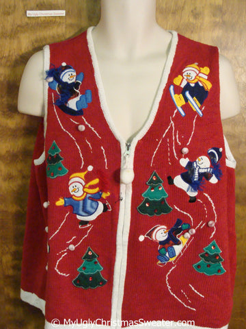 Skiing Skating Snowmen 80s Ugly Christmas Sweater Vest