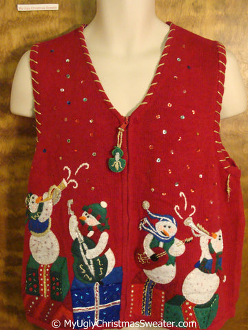 Funny Musical Snowmen Ugly Christmas Sweater Vest