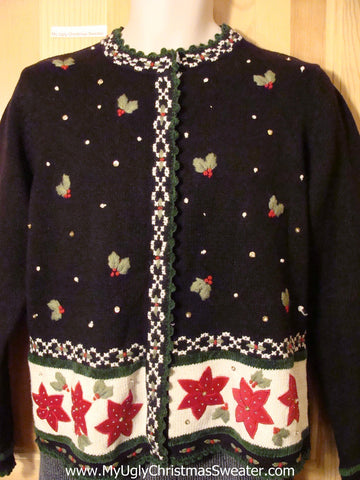 Tacky Cheap Ugly Christmas Sweater Vest with Festive Poinsettias and Ivy (f521)