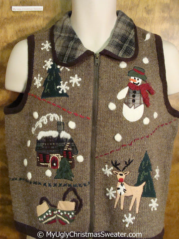 Brown Ugly Christmas Sweater Vest with Plaid Collar
