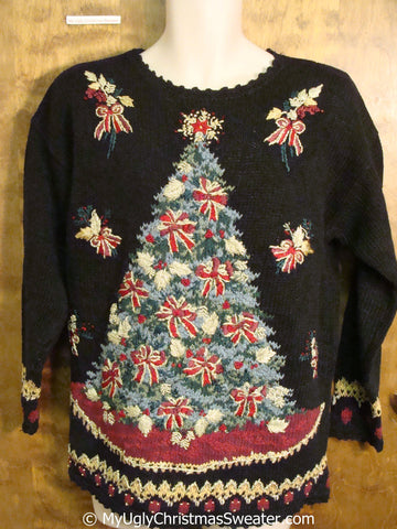 Best 80s Ugly Christmas Sweater Pullover with Padded Shoulders