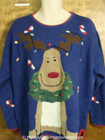 Funny Happy Reindeer Ugly Christmas Sweater Pullover