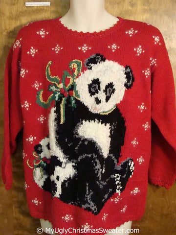 80s Panda Bears Ugly Christmas Sweater Pullover