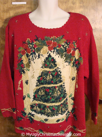 Festive 80s Red Ugly Christmas Sweater Pullover