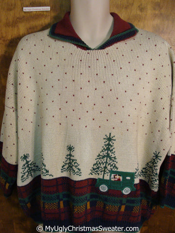 Green Pick Up Truck Ugly Christmas Sweater Pullover
