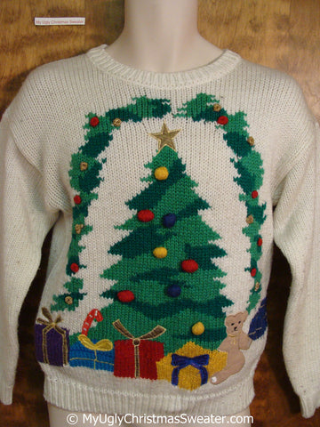 Classic 80s Ugly Christmas Sweater Pullover with Tree