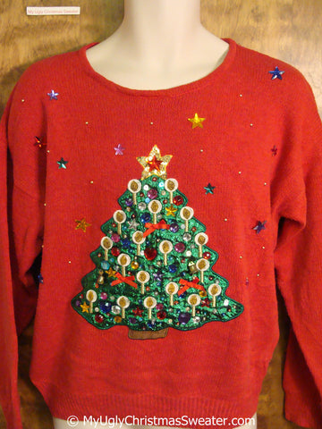 Ugly Christmas Sweater Pullover with Bling Tree
