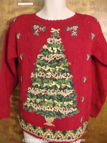 80s Classic Ugly Christmas Sweater Pullover with Tree