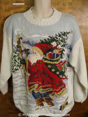 80s Santa in the Winter Ugly Christmas Sweater Pullover