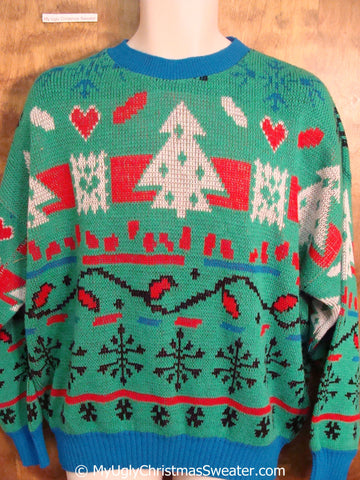 Amazing 80s 2sided Classic Ugly Christmas Sweater Pullover