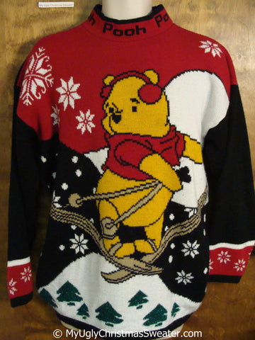 Winnie the Pooh Skiing 80s Ugly Christmas Sweater Pullover