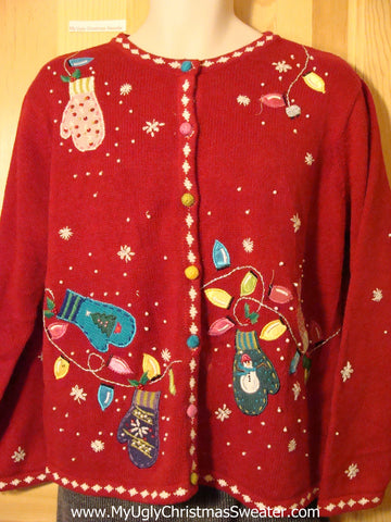 Tacky Cheap Ugly Christmas Sweater with Mittens and Festive Lightbulbs (f523)
