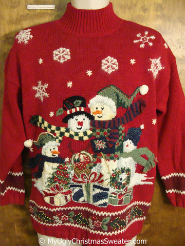 Fun 80s Snowman Family Ugly Christmas Sweater Pullover
