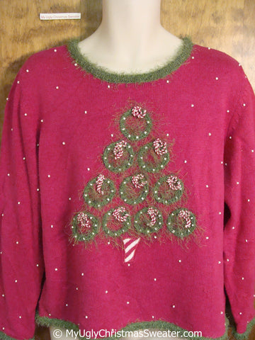 Pink and Green Frilly Ugly Christmas Sweater Pullover