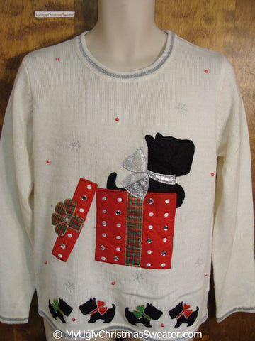 Black Scottie Dog Ugly Christmas Sweater Pullover