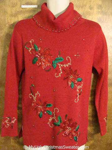 Cheap 80s Bling Red Ugly Christmas Sweater Pullover