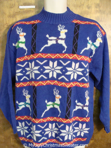 Reindeer and Snow 80s Best Ugly Christmas Sweater Pullover
