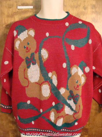 Teddy Bears and Ribbon 80s Ugly Christmas Sweater Pullover