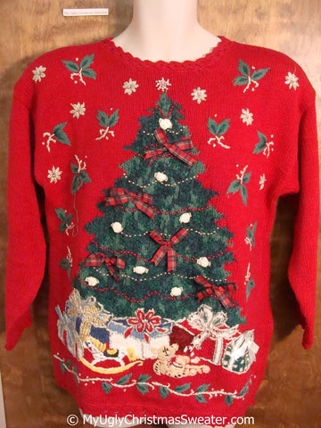 Ugly 80s Red Christmas Sweater Pullover with Tree