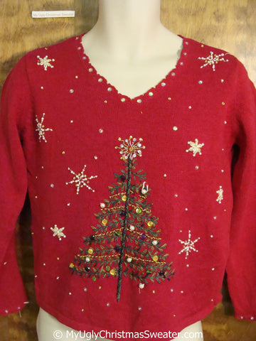 Ugly Red Christmas Sweater Vneck with a Bling Tree