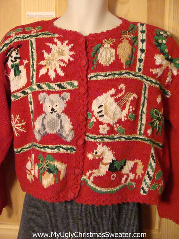 Tacky Ugly Christmas Sweater with Padded Shoulders and Vibrant Festive Decorations (f524)