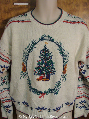 2sided Festive Tree and Sprigs Ugly Christmas Sweater Pullover
