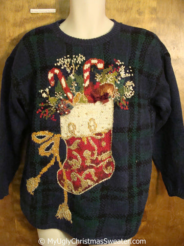 Ornate Stocking 80s Ugly Christmas Sweater Pullover