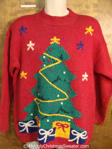 Retro 80s Red Ugly Christmas Sweater Pullover with Tree