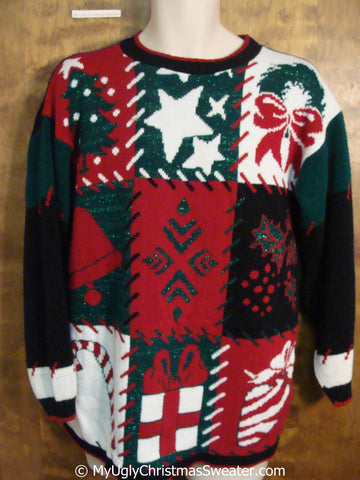 80s Patchwork Patterned Ugly Christmas Sweater Pullover