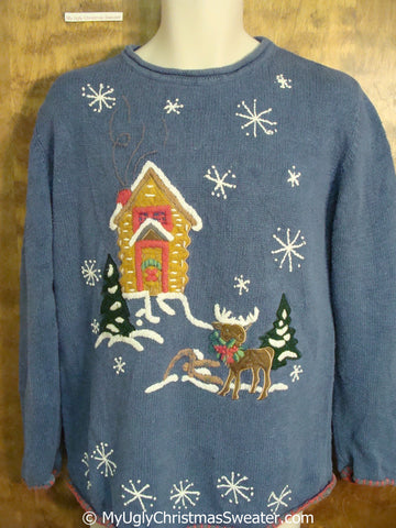 Ugly Blue Christmas Sweater Pullover with Reindeer