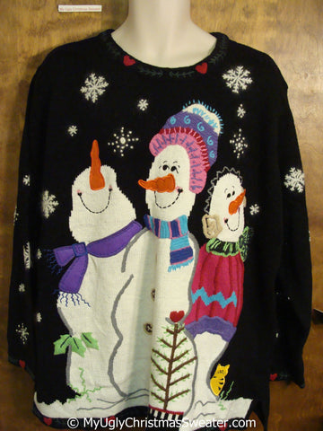 Best Huge Snowmen Trio Ugly Christmas Sweater with Cat