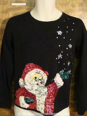 Sequin Santa Awesome Ugly Christmas Sweater Pullover