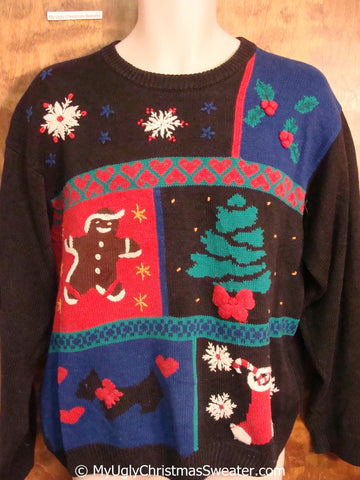 Ugly Christmas Sweater Pullover with Gingerbread Man