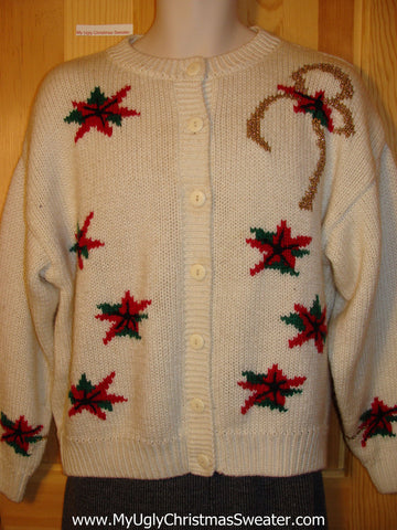 Tacky Cheap Ugly Christmas Sweater Cardigan with Vibrant Red Poinsettias on Front and Sleeves (f525)