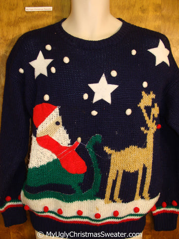 Santa and Reindeer 80s Ugly Xmas Sweater Pullover