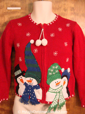 Child Size Red Snowmen Themed Ugly Christmas Sweater