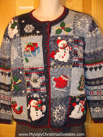Tacky Cheap Ugly Christmas Sweater with Colorful Patterns and Snowmen on Front and Sleeves.  80s Style Padded Shoulders. (f526)