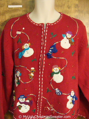Snowmen on a String Ugly Christmas Sweater