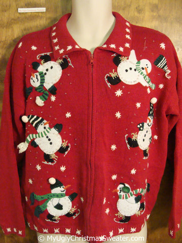 Tumbling Ice Skating Snowmen Red Ugly Christmas Sweater