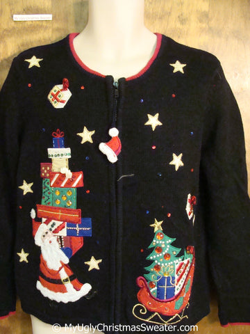 Santa and Gifts Bling Ugly Christmas Sweater