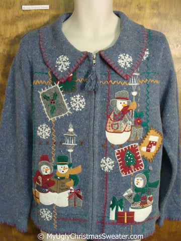 Tacky Blue Snowman Themed Ugly Christmas Sweater
