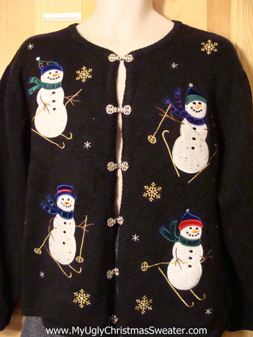 Tacky Cheap Ugly Christmas Sweater with Ski Theme Skiing Snowmen (f527)