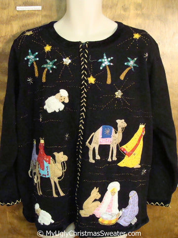 Religous Mary Jesus Wise Men and Camels Christmas Sweater