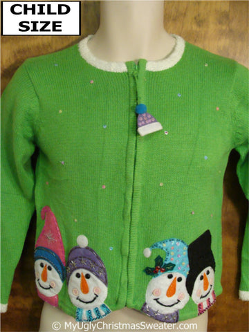 Child Size Green Ugly Christmas Sweater with Four Snowmen