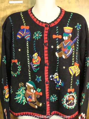 Dangling Bears Funny Ugly Christmas Sweater