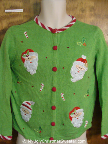 Lime Green Ugly Christmas Sweater with Four Santas
