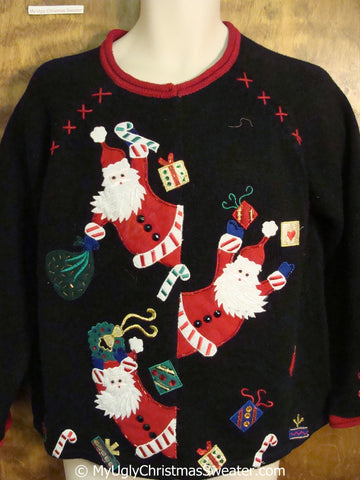 Peaking Pointy Bearded Santas Ugly Christmas Sweater