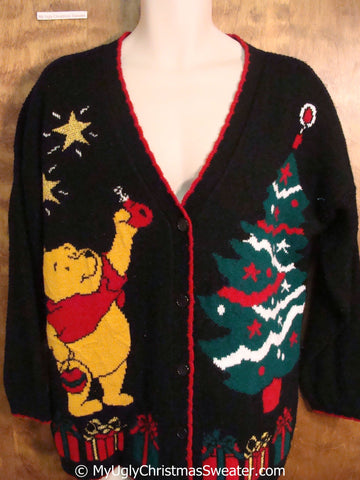 Winnie the Pooh 80s Ugly Christmas Sweater Cardigan